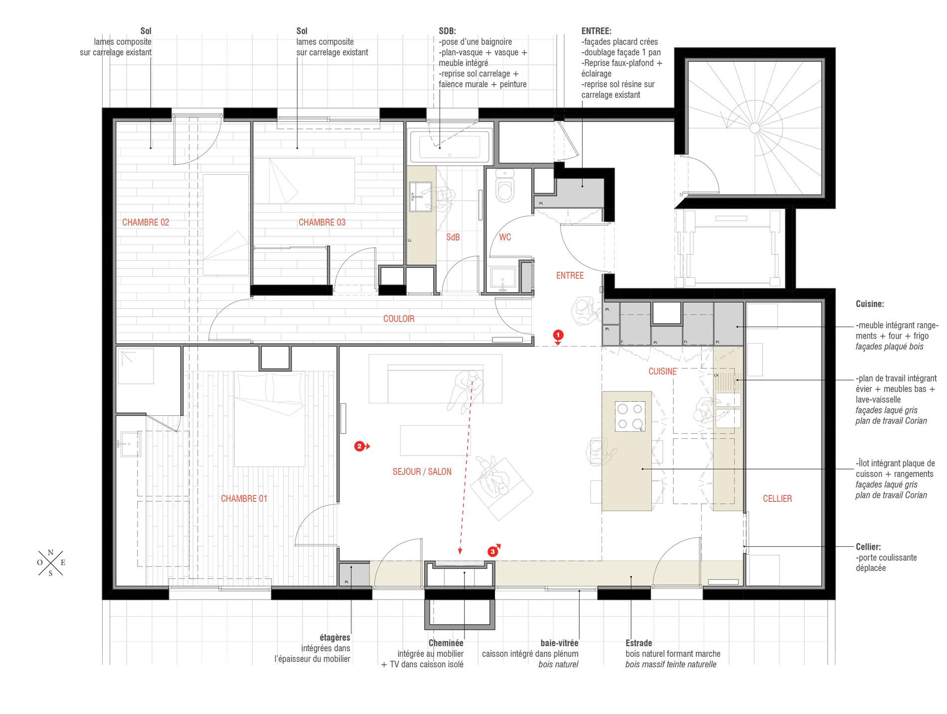 Aménagement d\'un appartement | ASB architecture